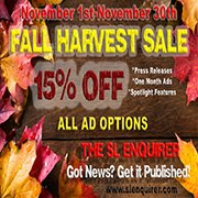 FALL HARVEST SLE AD SPECIAL! 15% OFF