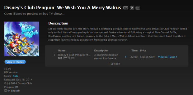 "Club Penguin ""We Wish You A Merry Walrus"" on iTunes"