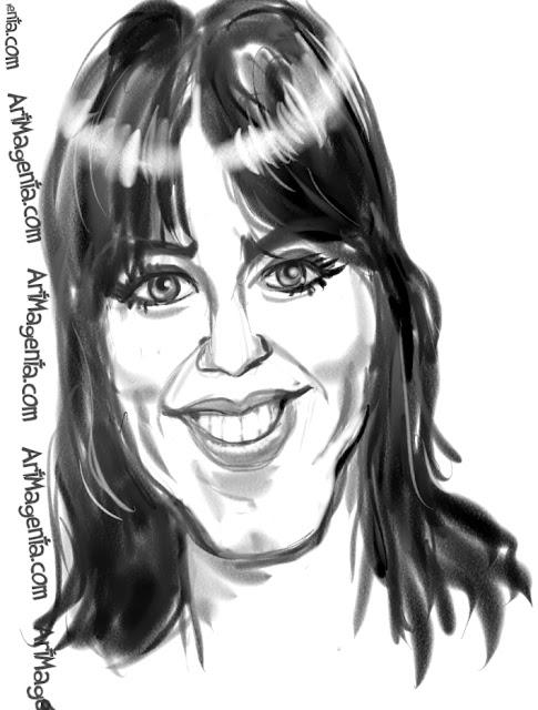 Katy Perry  caricature cartoon. Portrait drawing by caricaturist Artmagenta.
