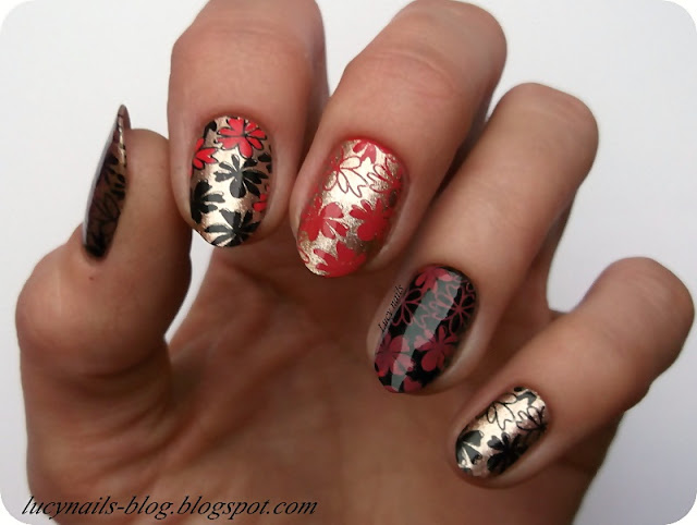 Stamping nails flowers