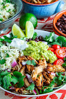 Chicken Carnitas Burrito Bowl with Cilantro Lime Cauliflower Rice