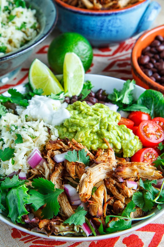 Chicken Carnitas Salad Bowl with Cilantro Lime Cauliflower Rice