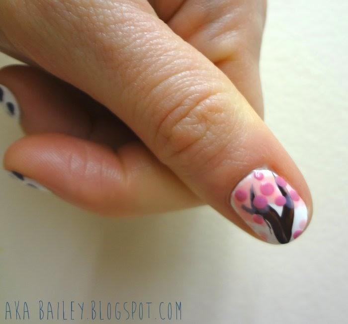 Cherry blossom tree nail art on white background