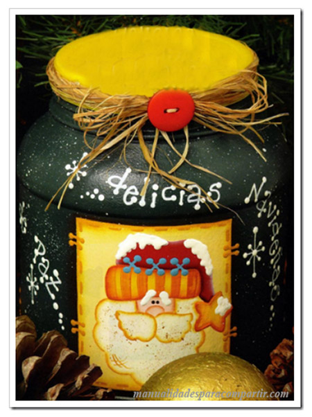 Manualidades para compartir for Frascos decorados para navidad