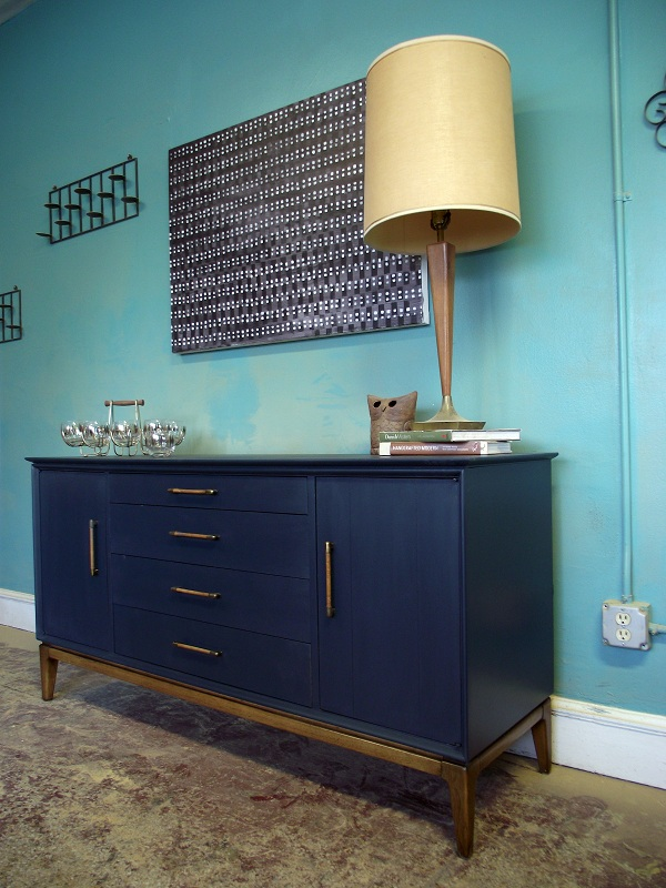 Vintage Ground Mid Century Retro Deep Blue Sideboard