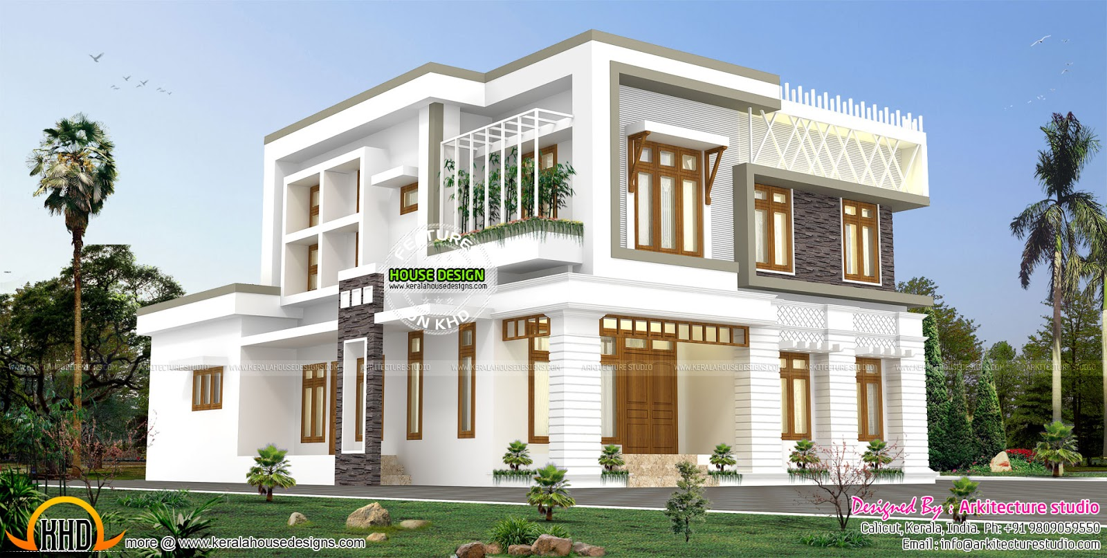 Contemporary style 6 bedroom home kerala home design and for Home designs 6 bedrooms