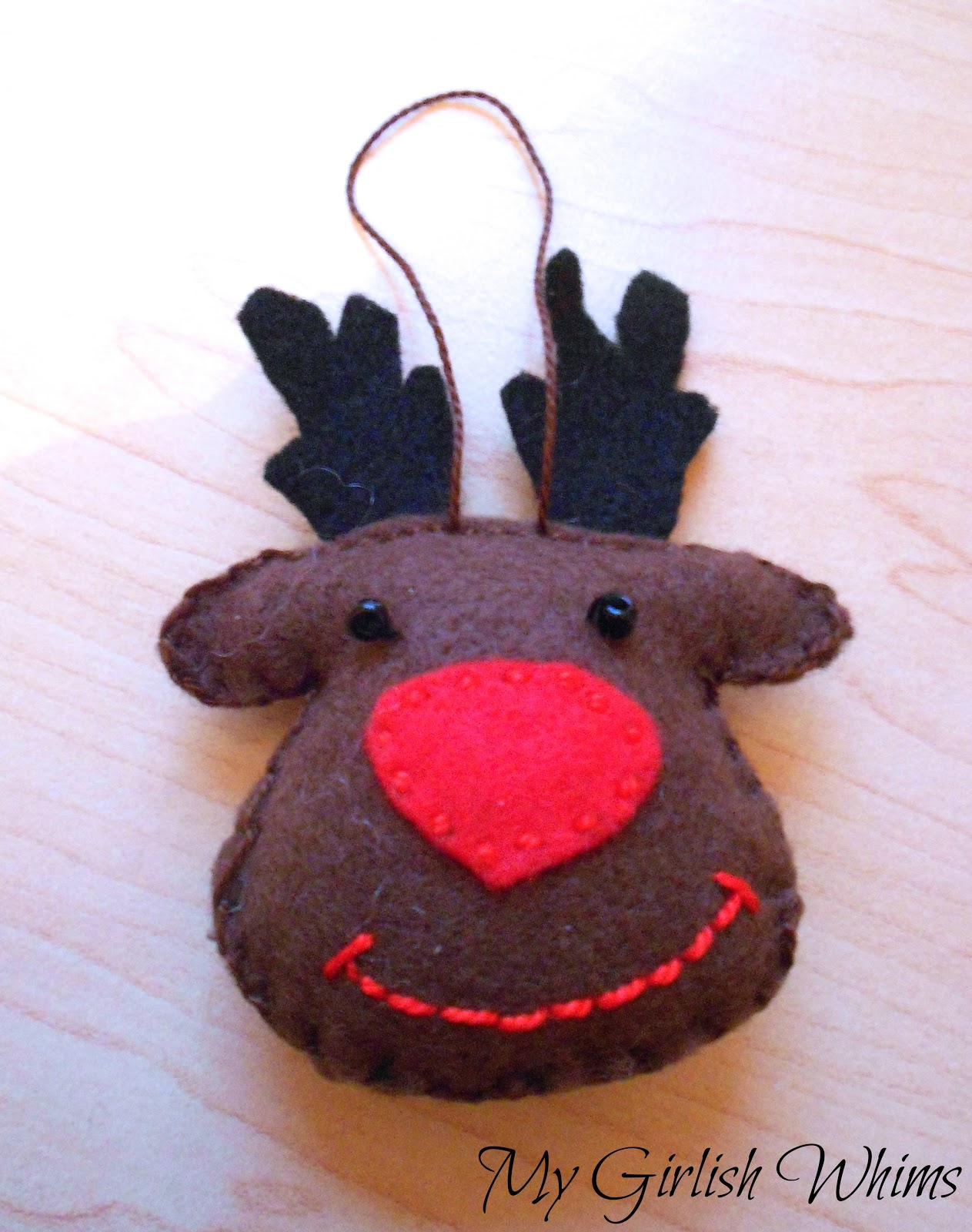 felt reindeer ornament my girlish whims