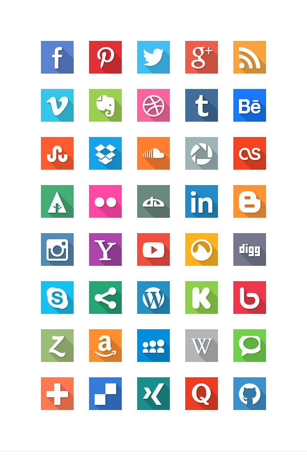 40 Social Media Flat Icons