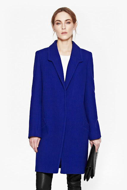 blue french connection coat, blue wool coat,