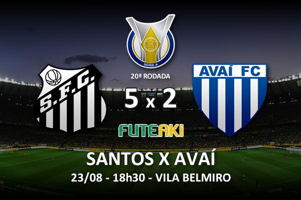 Veja o resumo da partida com os gols e os melhores momentos de Santos 5x2 Avaí pela 20ª rodada do Brasileirão 2015.