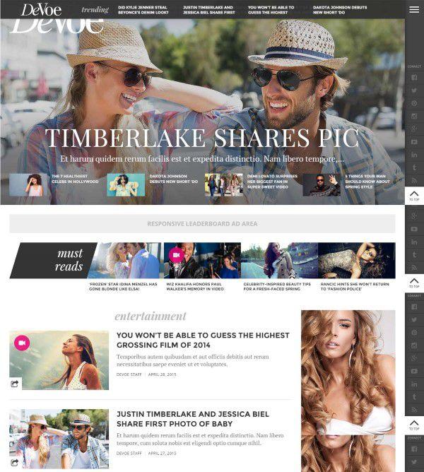 DeVoe fashion and entertainment blog design