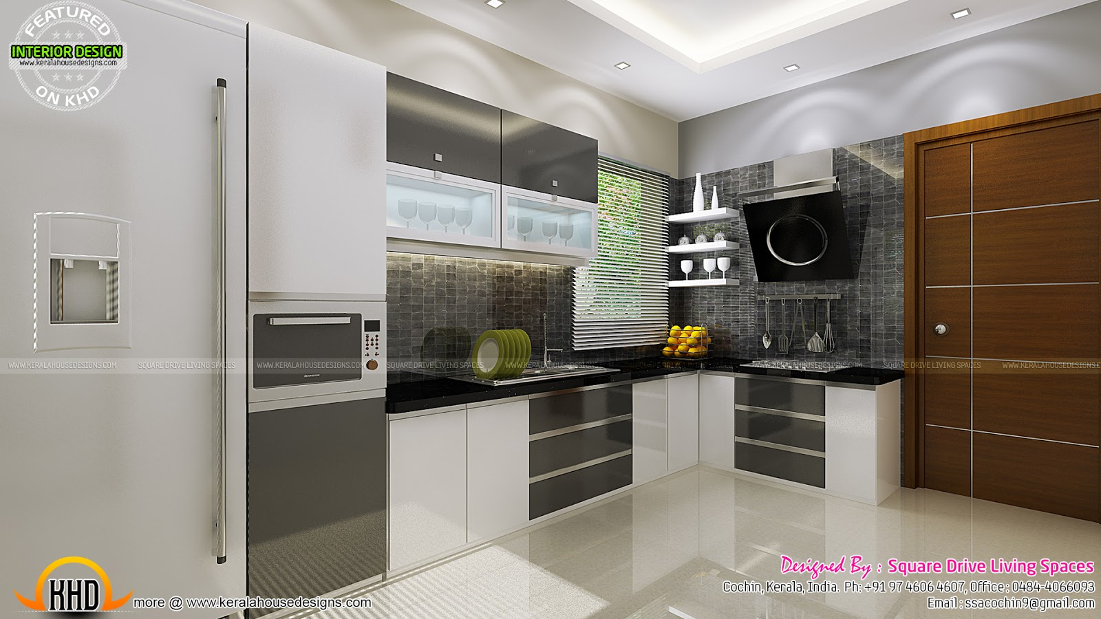 Contemporary kitchen dining and living room kerala home for Kitchen dining hall design