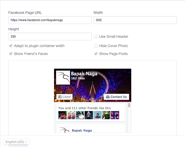Cara mengatur Like Box Fans Page Facebook di Blogger
