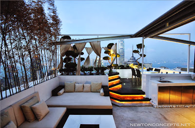 remarkable outdoor patio with lovely modern sofa, recessed lighting on the stairs and romantic spot