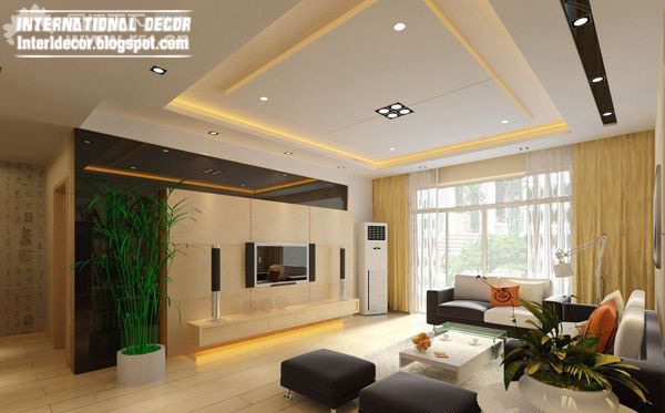 10 unique false ceiling modern designs interior living room for Ceiling designs for living room images