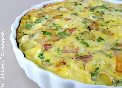 Caramelized Onion and Potato Frittata with Ham and Swiss