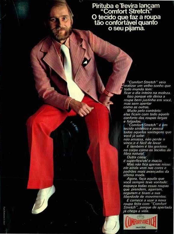 Anúncio da linha masculina Comfort Strech da Pirituba e Trevira, em 1973.