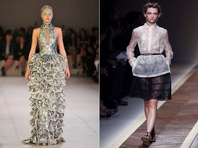 McQueen lace clothe and Valentino collar clothe at Paris Fashion Week