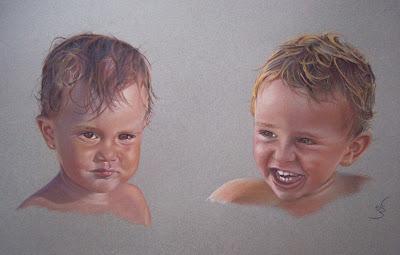 Retrato a pastel de dos niños