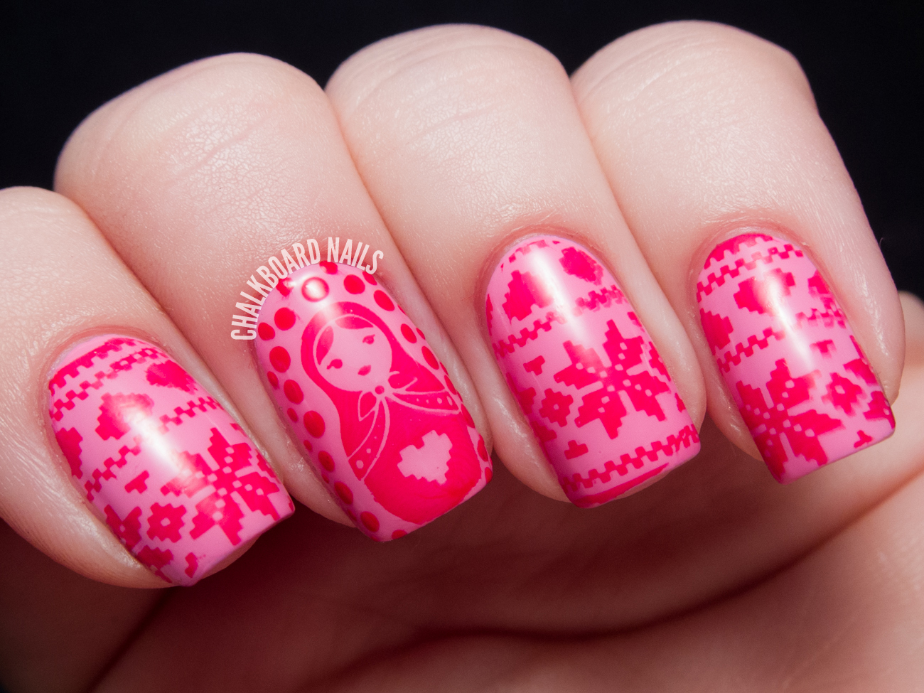 Snuggly Pink Christmas Sweater Stamping Chalkboard Nails Nail