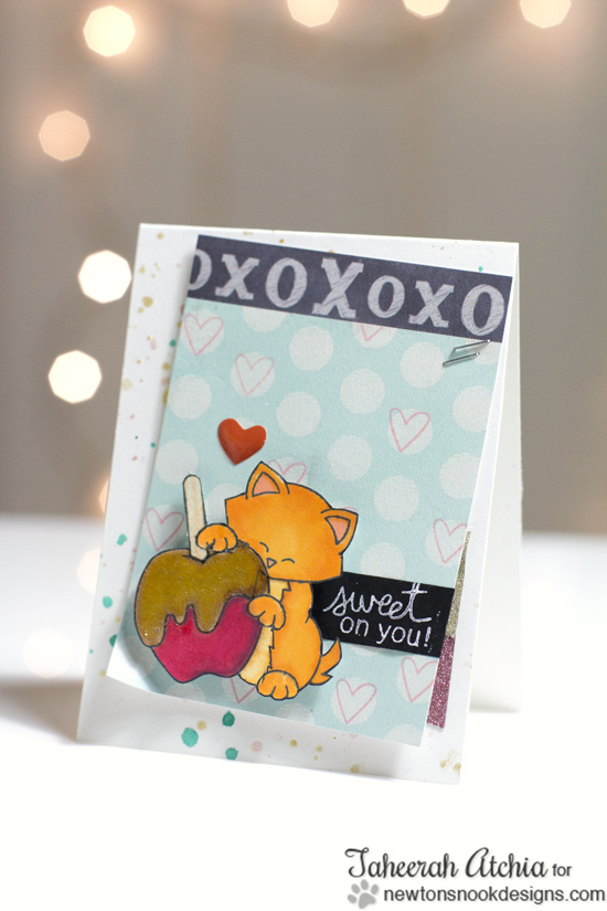 Caramel Apple Cat Card by Taheerah Atchial for Newton's Nook Designs | Apple Delights Stamp Set