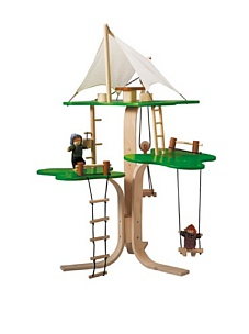 MyHabit: Save Up to 60% off Dollhouses + Decor by Plan Toys: Tree House - Three levels with a canvas canopy that covers a living area; includes a  working pulley and pallet along with a table, 2 chairs, a bucket, rope  ladder, swing and 2 figures.