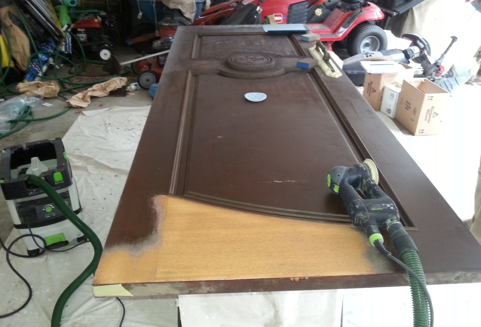 The sanding of both doors took approximately 9 hours. The final sanding was with 220 grit by hand. The next step was cleaning the doors and using a tack ... & Rokel Painting: Saddle River Mahogany Doors