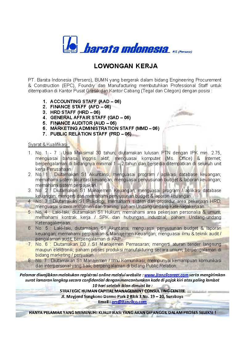 Loker PT Barata Indonesia (Persero)
