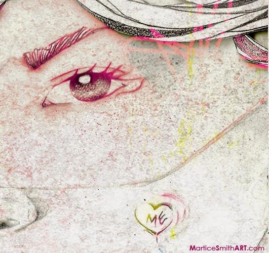 Eye & graffiti detail; by mixed media artist Martice Smith II