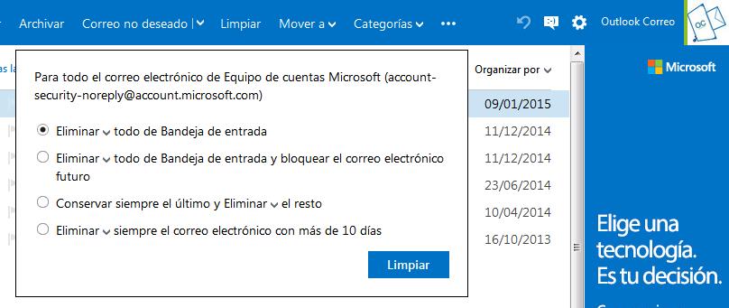 Programar limpieza en Outlook.com