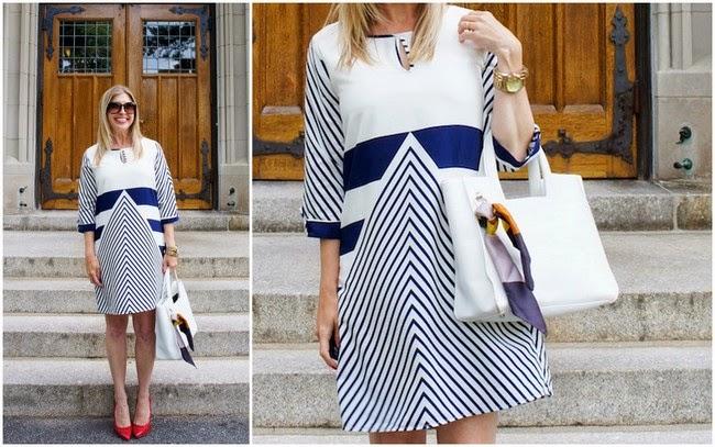 Christin Michaels Natasha Shift Dress, Zappos, nautical dress, boston style, Chelsea Paris, Nneka