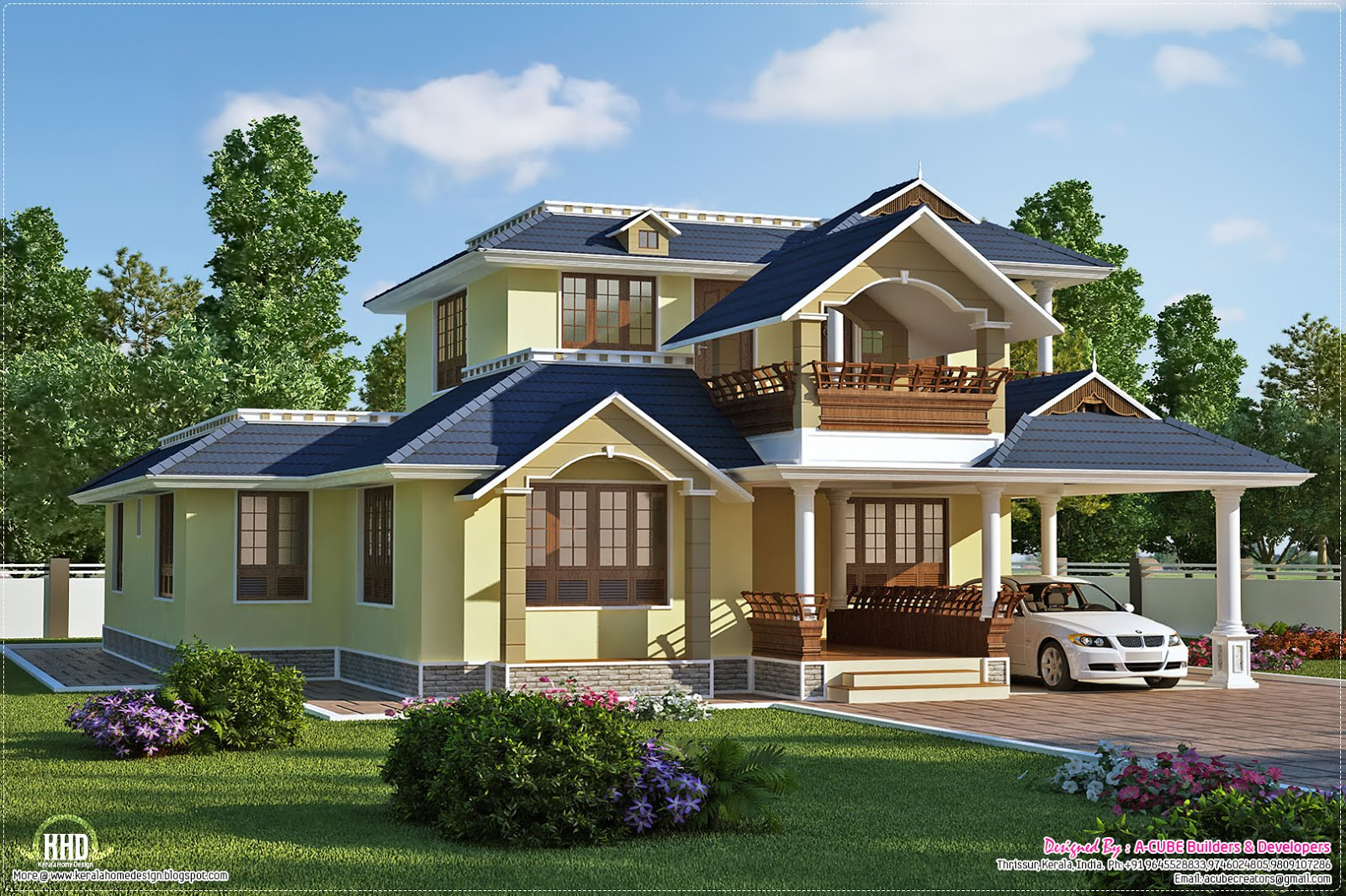 Beautiful sloping roof villa plan kerala home design and for Sloped roof house plans in india