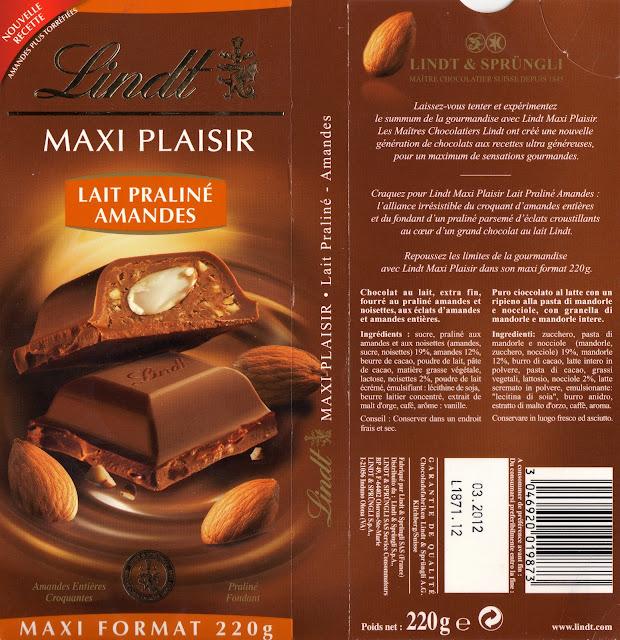 tablette de chocolat lait gourmand lindt maxi plaisir lait praliné amandes 2