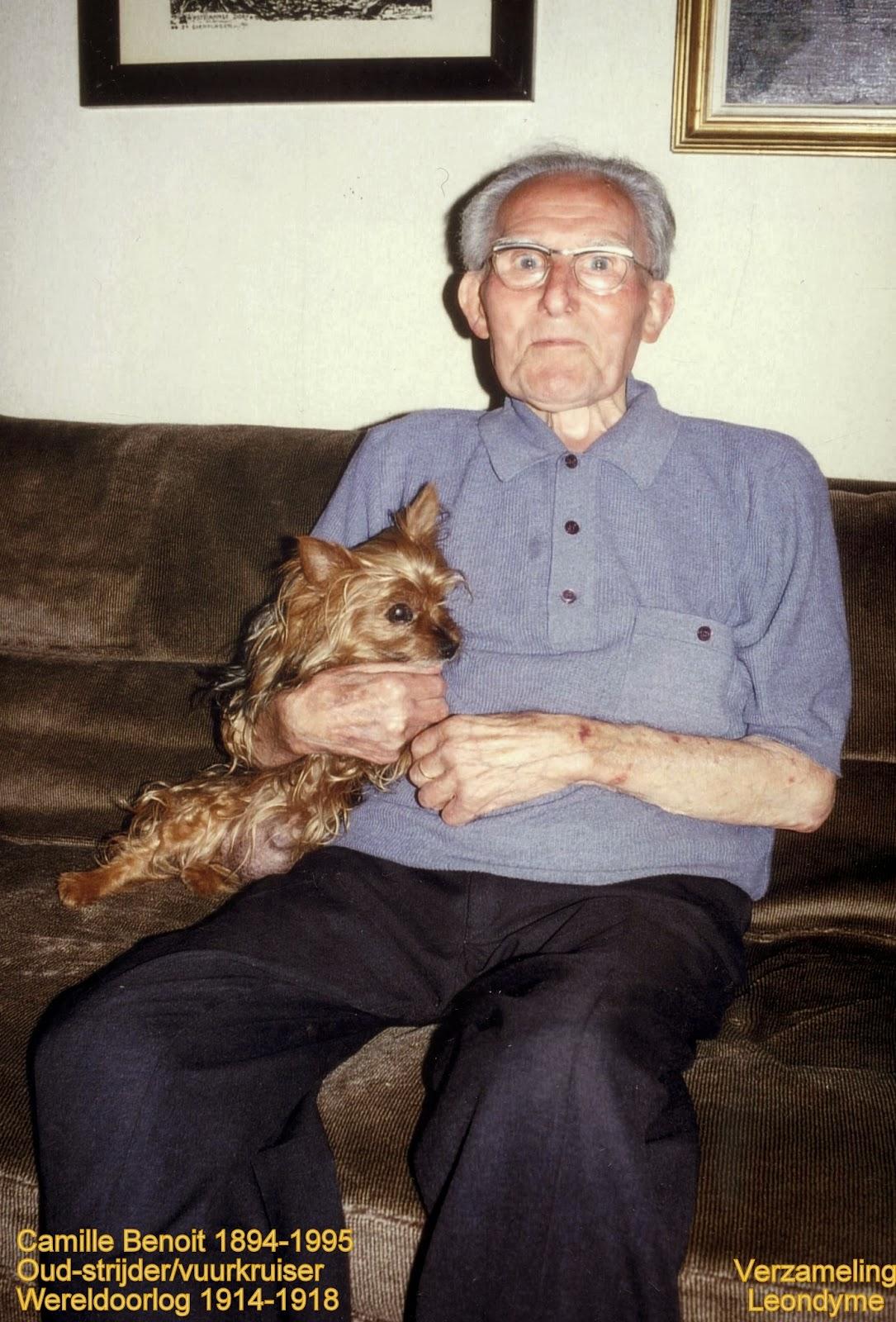 Oud-strijder/vuurkruiser Camille Benoit op 100-jarige leeftijd. Verzameling Leondyme