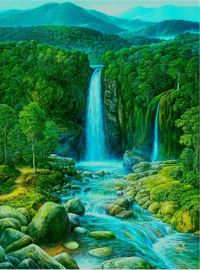 Im genes arte pinturas rboles realistas pintados al leo for Cuadros verticales grandes