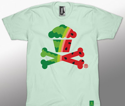 Johnny Cucpcakes Summer Fruit Mini Series - Watermelon Cupcake & Crossbones T-Shirt