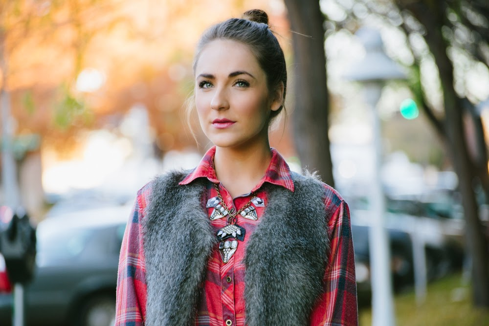 Plaid, fur, and statement necklace | In good faith, Tess