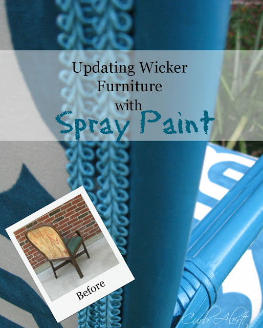 Reupholstery Tutorial: Updated Blue Wicker Chair via Curb Alert! http:tamicurbalert.blogspot.com