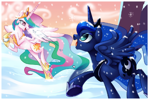 Princess Celestia and Princess Luna are having a good OLD FASHION style snowball fight. They agreed, no magic. Wings however are another story these sisters will...