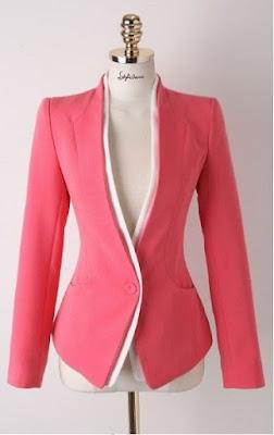 Model Jas Wanita Import Grosir  Warna Pink Tangan Panjang