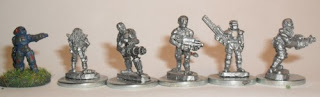 The Freakshow, mercenaries by Critical Mass Games, with GZG UNSC figure for scale