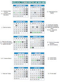 Calendario Escolar 2016-17                                                         MÁLAGA