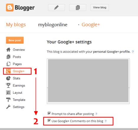 Aktivate google+ komen dalam blogger