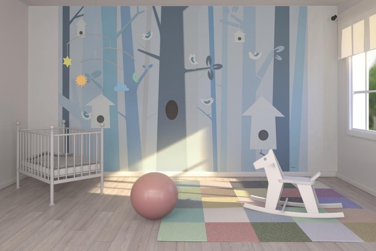 El beb entre flores papel pintado infantil - Decorar paredes de gotele ...