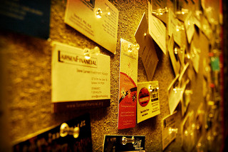 business cards bulletin board