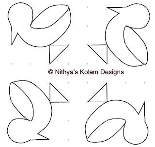 2 Kolam 88: Duck Kolam 8 by 8 dots