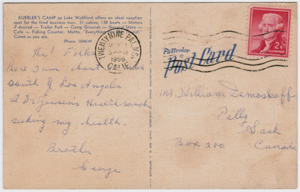 Back of postcard from George Demoskoff