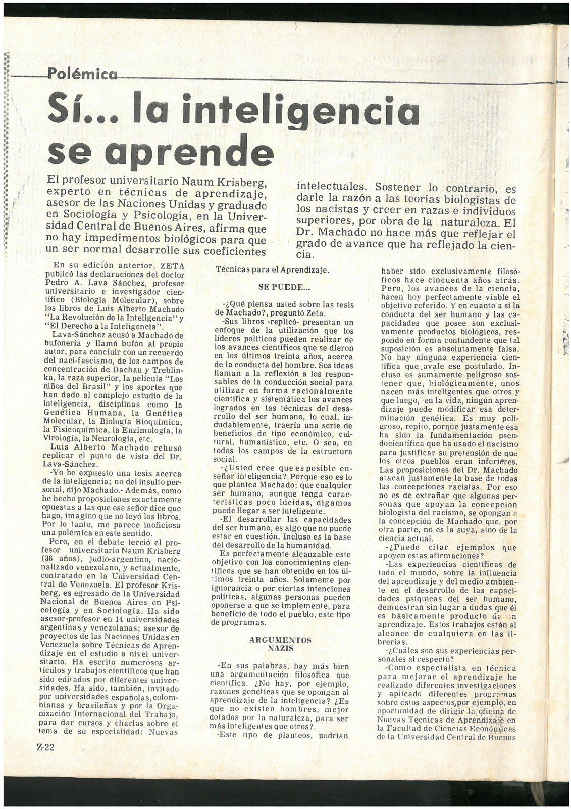 20 - Revista Zeta. Caracas. Venezuela. 18/02/1979. En este extenso reportaje de 3 páginas a