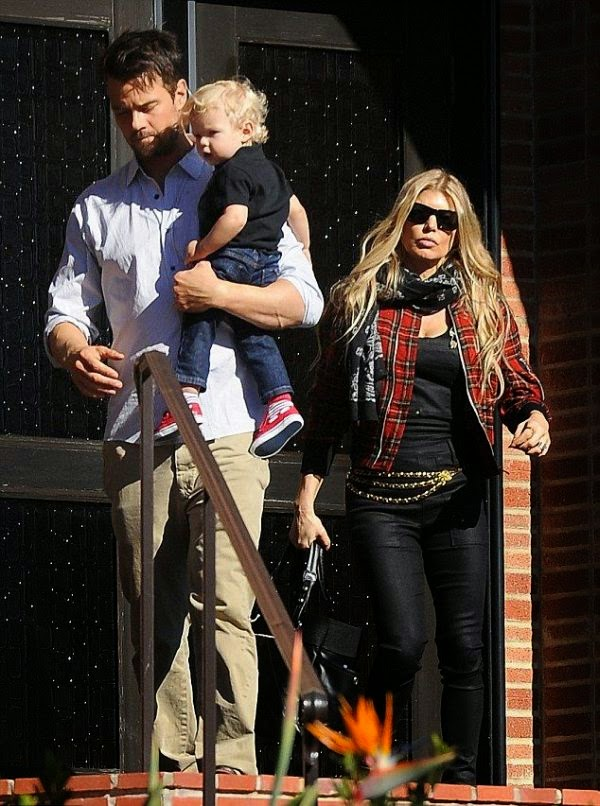 Nothing like taking an advantage of the unseasonably warm Christmas weather.  That's just what the Singer, Fergie and her family, husband, Josh Duhamel and son, Axl, did when the three decided to walk after sacrifice themselves for Christmas Day on the church at Los Angeles, CA, USA on Thursday, December 25, 2014.