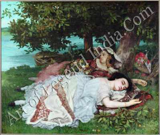 "The Great Artist Gustave Courbet Painting ""Young Ladies on the Banks of the Seine"" 1856-7 68 ½"" x 78 ¾"" Petit Palais, Paris"
